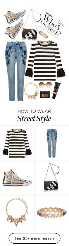 """Monday Street Style"" by aasrmiruna on Polyvore featuring Topshop, Linda Farrow, Gucci, Erickson Beamon, NARS Cosmetics, Lancôme, Irene Neuwirth and Converse"