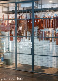 aging room for cured meats at restaurant nomad surry hills Meat Restaurant, Restaurant Kitchen, Restaurant Design, Butcher Restaurant, Nomad Restaurant, Meat Butcher, Butcher Shop, Carnicerias Ideas, Deli Shop