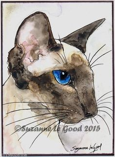 ACEO ORIGINAL SIAMESE CAT ON YUPO WATERCOLOUR PAINTING BY SUZANNE LE GOOD | eBay