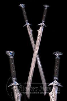 Ol'elghinn:The Drow sabres – katana Katana, Ninja Weapons, Anime Weapons, Fantasy Sword, Fantasy Weapons, Fantasy Blade, Swords And Daggers, Knives And Swords, Larp Sword
