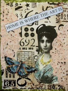 OOAK Art Collage and Ink Card Home Is Where The by PaperPastiche, $7.50