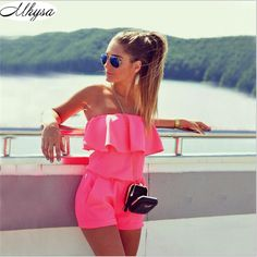 Cheap romper women, Buy Quality summer women directly from China summer fashion Suppliers: Rompers Womens 2017 Summer Women Fashion Casual Ruffles Strapless Waist Tightening Candy Color Womens Rompers Fashion And Beauty Tips, Look Fashion, Fashion Outfits, Womens Fashion, Fashion Trends, Street Fashion, Fashion Clothes, Fashion News, Latest Fashion