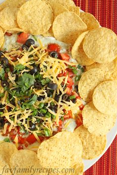 yumm!  This is an awesome layer dip.  I omitted the cilantro (didn't have any) and the olive (don't like) so it was more like a 7 layer dip.  Very good.  Will make it again.