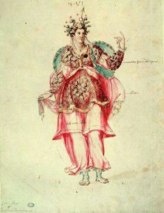 "Costume  from the intermezzo ""La Pellegrina"" (1589) by the architect Bernardo Buontalenti. This intermezzo was held in honour of Ferdinand I of Medici and Christine of Lorraine's wedding. 286 costumes were made for this event."
