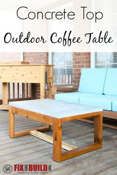 Outdoor DIY Projects : Learn how to build a DIY Concrete Top Outdoor Coffee Table. See the lessons I learned while working with concrete for the first time -Read More – Concrete Coffee Table, Coffee Table Plans, Outdoor Coffee Tables, Diy Coffee Table, Diy Outdoor Furniture, Diy Furniture Projects, Furniture Plans, Home Projects, Home Furniture