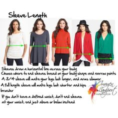"""Choosing sleeve length"" by imogenl on Polyvore I should have 3/4 and longer should end above or below my waist"