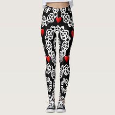 red white hearts black leggins teenager