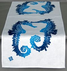 Dermond Peterson Seahorse - Indigo Table Runner: The Southern Home featuring French Country & Shabby Chic Home Decor