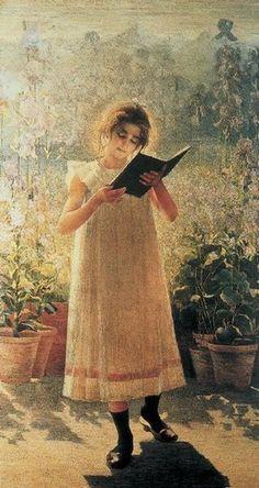 my pleasure & books - Young girl reading-  by Giovanni Sottocornola (Italian, 1855-1917)