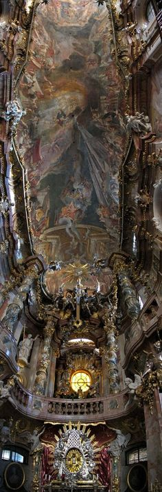 Asamkirche in MUNICH is an 18th-century Baroque and Rococo church built by the Asam brothers. The opulent interior leaves no surface undecorated