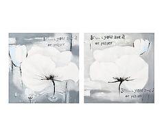 Set de 2 lienzos pintados a mano Amapolas, blanco y gris - 60x60cm