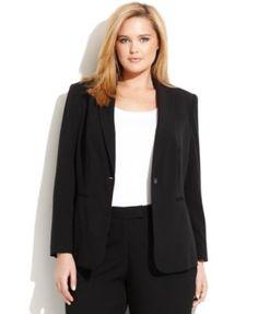 Calvin Klein Plus Size One-Button Luxe Stretch Jacket  | macys.com