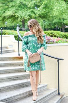 Palm Green Off the Shoulder Dress by NC fashion blogger Amy of Coffee Beans and Bobby Pins Women Women's Fashion Raleigh Durham NC North Carolina Cameron Village Blog Blogger Photographer