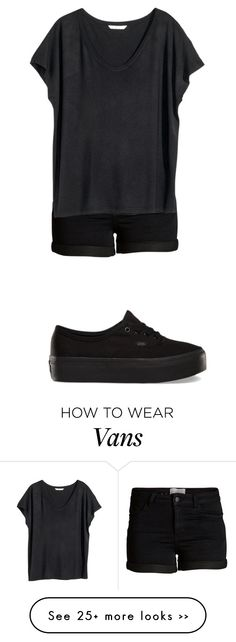 """When u wear black everyday"" by makeupbylibby on Polyvore featuring Pieces, H&M and Vans"
