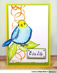 Card by Robyn Wood using Darkroom Door Garden Birds & Carved Leaves Stamp Sets and Abstract 02 Stamp Journal Covers, Art Journal Pages, White Paint Pen, Printed Pages, Some Cards, Tag Design, Paint Pens, Watercolor Cards, Doodle Art