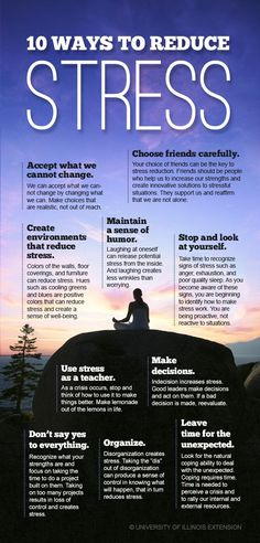 10 Ways to Reduce Stress. Improve your mental, emotional, and physical well-being. #infographic #health #relief