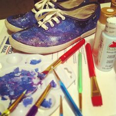 DIY galaxy print shoes.  Got the stuff to make these, today.