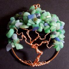Green and Blue Aventurine Tree of Life Brooch Wire Wrapped World Tree | DesertCreations - Jewelry on ArtFire @Jennifer