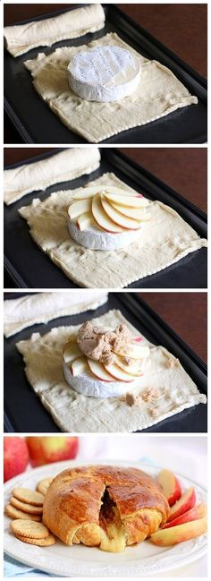 I have never had Brie but this looks so delicious! Brie, apples, and brown sugar are wrapped up in buttery crescent rolls. Eat this with apples or crackers for an elegant brunch appetizer. Think Food, I Love Food, Good Food, Yummy Food, Baked Apples, Baked Brie, Sliced Apples, Oven Baked, Appetizer Recipes