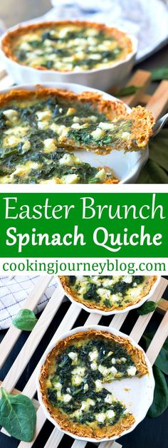 Spinach quiche is tasty and simple dish for Easter brunch or breakfast. Mini quiche is perfect for individual serving for Sunday brunch or to have a healthy breakfast. This crustless quiche looks beautiful, it is easy recipe you will want to make again and again! #easter #quiche #spinach #brunch #breakfast