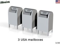 3 USA mailboxes by jebeek on Shapeways. Learn more before you buy, or discover other cool products in Scenery.