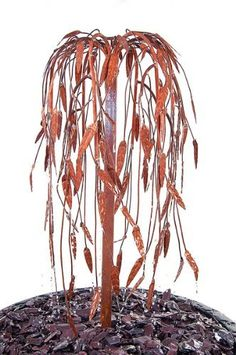 Weeping Willow Copper Tree Cascade Water Feature. A lovely feature when placed with your potted plants.