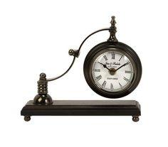 "Calisto Scroll Arm Desk Clock - Very unique desk clock. Material: 25% aluminum, 25% iron, 25% sheesham wood, 10% brass, 10% movement, 5% needles. 8""h x 8.25""w x 3""."