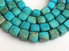 Turquoise Faceted Cube Beads Chinese Turquoise by gemsforjewels