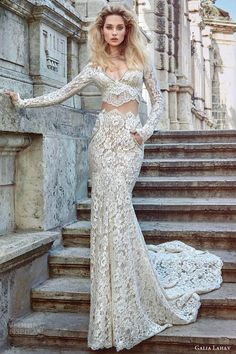 galia lahav fall 2016 bridal long sleeves v neck sheath lace wedding dress (morgan) mv elegant edgy pockets