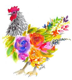 Watercolor Loose Florals Chicken Print Watercolor Loose Florals Chicken Print by LisaGrayCreates on Chicken Painting, Chicken Art, Chicken Animal, Chicken Coop Signs, House Painting, Watercolor Artwork, Floral Watercolor, Watercolor Trees, Watercolor Artists