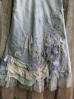 RÉSERVÉ - Barocco jupe --romantique, Maxie jupe, taille L, shabby chic mélange lin, teintes, brodés de détails, à la main