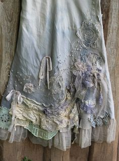 RRSERVED- Barocco  skirt - -romantic, maxi skirt, L size, shabby chic, linen blend, hand dyed, embroidered details,