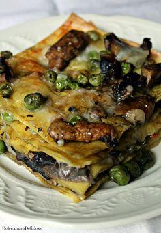 Lasagne ai funghi e piselli