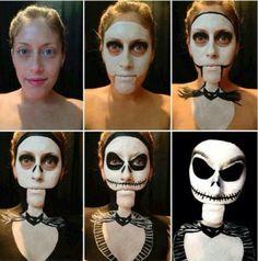 Jack Skellington Halloween makeup; Nightmare Before Christmas.