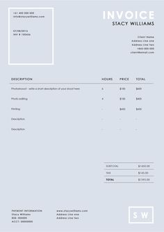 Minimal Invoice | Pinterest | Minimal, Template and Organizing