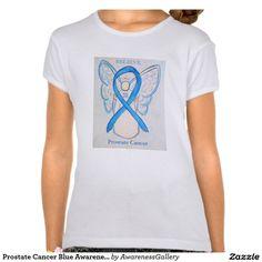 Prostate Cancer Light Blue Awareness Ribbon Angel Shirt