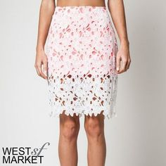 "SALE  -NEW ARRIVAL-  Two-Tone Lace Skirt White lace skirt with coral/bright pink lining. Perfect for Spring and right on trend. Best paired with a chambray button-down, your favorite hat, and a sunny day. Sizes small, medium, and large available. Measurements: Small- size 2/4, waist: 27-28"", hip: 36-37""; Medium: size 6/8, waist:29-30"", hip: 38-39""; Large: 10/12, waist: 31-32"", hip: 40-41"". West Market SF Skirts Pencil"