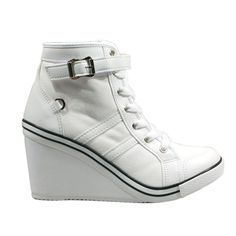 Womens US 6~8 Wedge Heel Shoes [RADIAN-White] Canvas High Top Lace Up Sneakers  #bonfeel #FashionSneakers