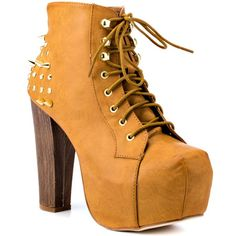 Team up with the Terza to create your edgy look.  This Shoe Republic style brings you a light tan synthetic leather upper with a lace up vamp with spikes and studs.  A 5 inch faux block heel and 2 inch covered platform completes this heart pounding style. - HighOnShoes.com
