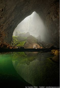 Son Doong cave, Vietnam.  The big lake in a cave deep chasms and clear water.  Photo courtesy of Carsten Peter