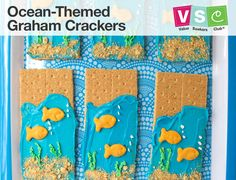 What a fun summer snack idea for kids! Make these ocean-themed graham cracker treats with your kids . Ocean Theme Snacks, Ocean Themed Food, Ocean Food, Camping Crafts For Kids, Fun Snacks For Kids, Kids Meals, Water Theme Preschool, Preschool Snacks, Lesson Plans For Toddlers
