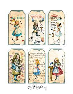 free wonderland printables   Free Alice In Wonderland Tags Digital Collage Sheet