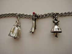 Disney Charm Bracelet Ltd Ed. Sterling Snow White Alice in Wonderland Cinderella