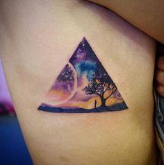 Best Planet Tattoos For Men Space, Galaxy, Universe, Constellation Dad Tattoos, I Tattoo, Tattoos For Guys, Texas Tattoos, Planet Tattoos, Compass Design, Landscape Tattoo, Triangle Tattoos, Memorial Tattoos