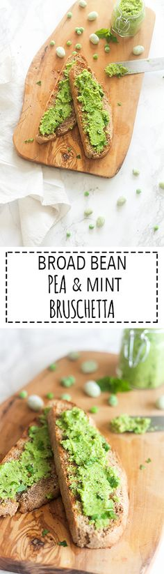 Broad Bean (Fava Bean), Pea & Mint Bruschetta | Raising Sugar Free Kids - a really yummy springtime sandwich spread that is just as delicious stirred into pasta or spread over grilled meat/fish or even used as a dip or baby puree! This versatile spread is so much more than a sandwich filler, and it's got a beautifully subtle, springtime flavour to it.