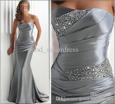 Big Discount 2011 New Sexy In Stock Silver Beaded Mother of the Bride Dresses Corset Show Good Shape