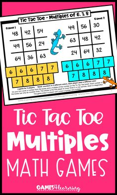 These games combine the fun of Tic Tac Toe with math practice. The games review the concept of multiples and practice identifying multiples of the numbers 2-10. There are 4 game boards in this collection. There are 2 Tic Tac Toe games on each game board so that the players can play 2 different games. But just like the regular version of Tic Tac Toe, the games can be played over and over. Printable and digital versions are included. Ideal for third, fourth or fifth grade. Math Board Games, Game Boards, Math Games, Tic Tac Toe Game, Math Practices, Different Games, Homeschool Math, Fifth Grade, Fun Math