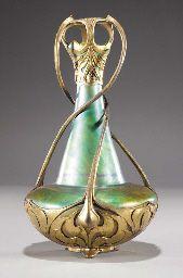 Zsolnay gilt-metal mounted pottery vase