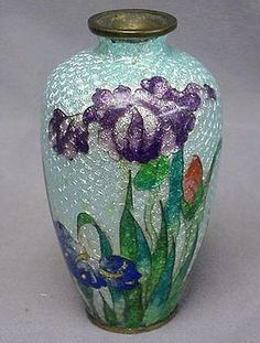 CLOISONNE Enameled Vase - Silver Foil - IRIS Motif - Antique & Signed.
