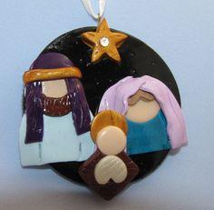 Nativity Christmas Ornament - handmade polymer clay holiday decor via Etsy